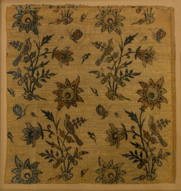 Textile Fragment with Flowers, Birds and Butterflies