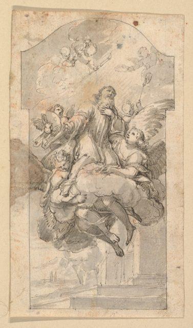 The Ascension of Saint Benedict; verso: Ornamental sketches