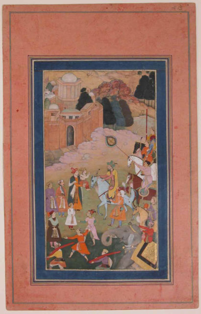 """""""The Emperor Humayun Returning from a Journey Greets his Son"""", Folio from the Davis Album"""