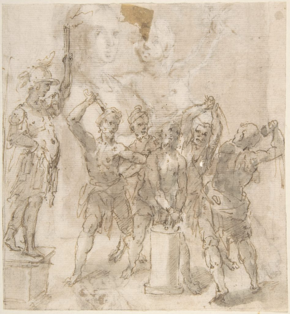 The Flagellation of Christ (recto); Madonna and Child and Unrelated Figure Studies (verso)