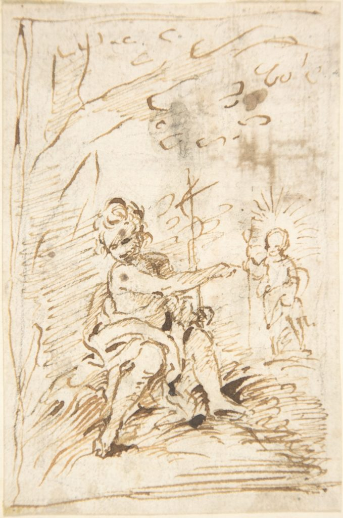 The Infant Saint John the Baptist with the Infant Christ in the Wilderness (recto); Fragment of Architectural Design with Engaged Corinthian Columns (verso)