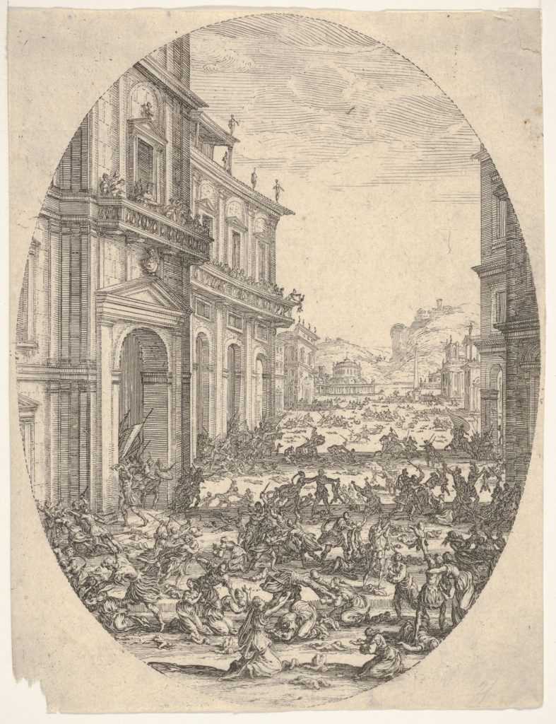 The Massacre of the Innocents, with architectural facades at left and right, an oval composition