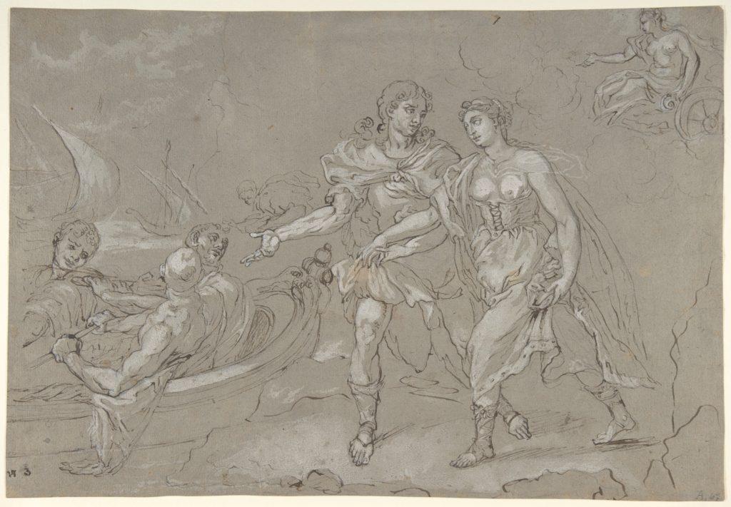 The Rape of Helena; verso: Study of a Kneeling Nude Male Figure