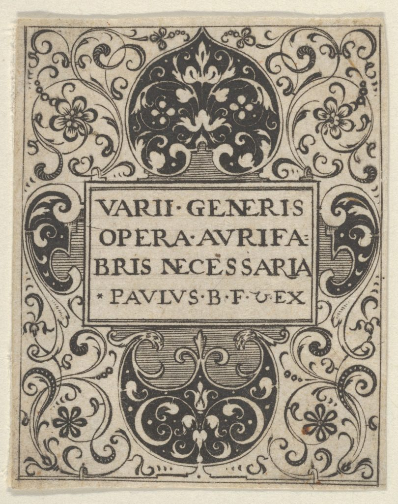Title Page, from Varii Generis Opera Aurifabris Necessaria
