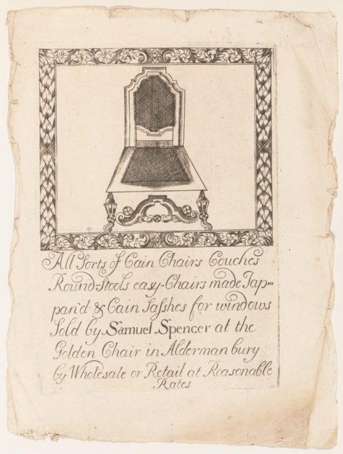 Trade Card of Samuel Spencer, Furniture Maker