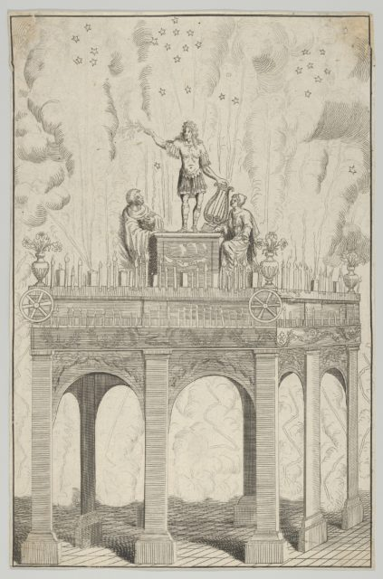 Triumphal arch with sculpture of Louis XIV as Apollo and fireworks in the background