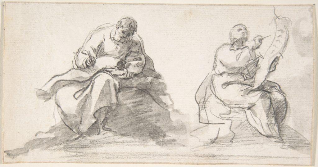 Two Figures of Evangelists Writing