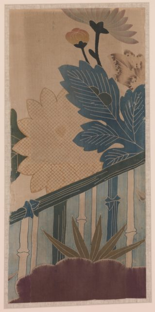 Two Pieces from a Robe (Kosode) with Chrysanthemums, Clouds, and Bamboo