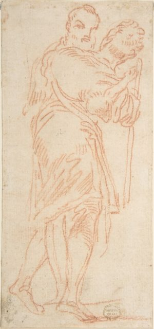 Two Standing Men, One Carrying a Lamb