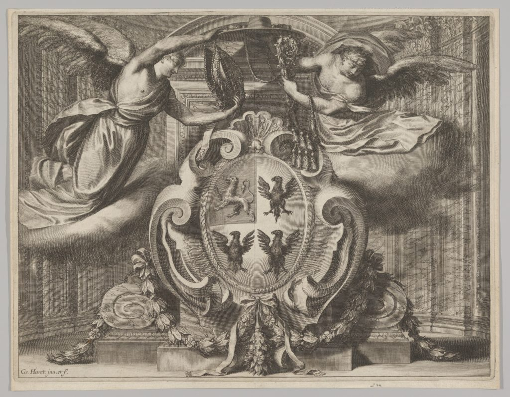 Two Winged Figures Holding a Cardinal's Hat and Crosier above a Coat of Arms with a Lion in the Upper Left Quarter and Eagles in the other Quarters