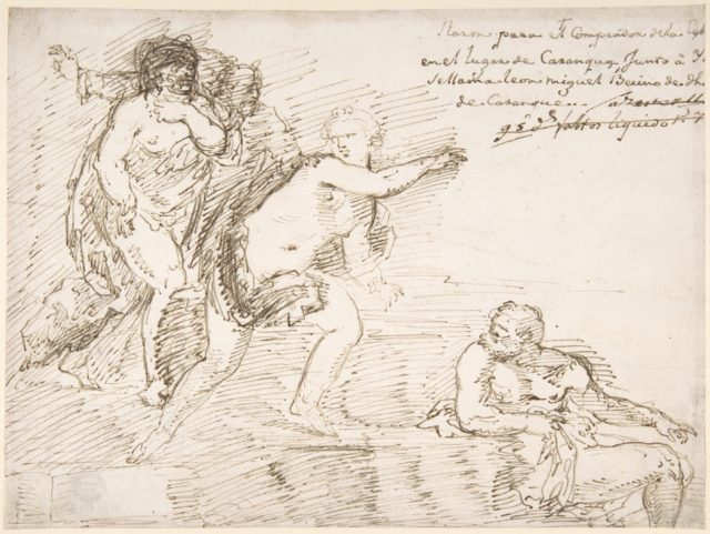 Unidentified Subject with Male Nudes at Left and Right, with a Female Nude at Center