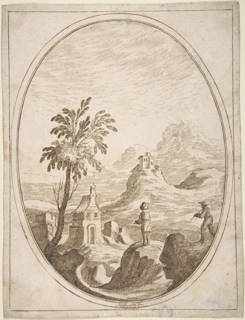 Vertical Oval Vignette of a Mountainous Landscape with Two Shepherds in the Foreground.