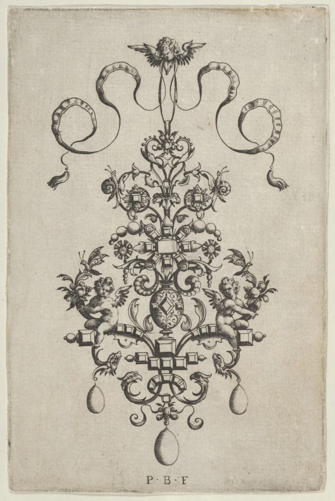 Vertical Panel with Design for a Pendant, from Ars His Myronis Nobilis Effingitus Pagellulis