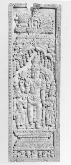Vishnu Standing between His Consorts, Lakshmi and Sarasvati