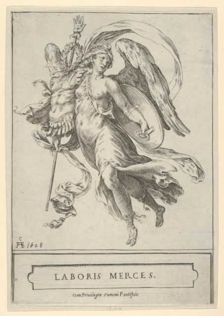 Winged Victory holding a trophy of arms in her right hand and a shield in her left