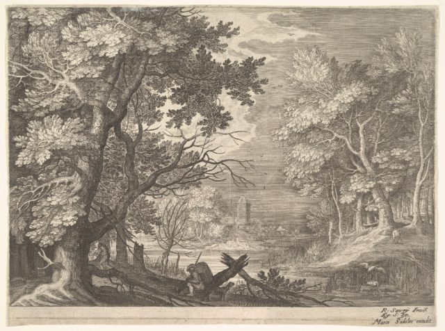 Woodland scene with marshy banks, two men and a dog in profile at left, two-long-necked birds at right, from the series 'Six landscapes in Tyrol' after Roelandt Savery