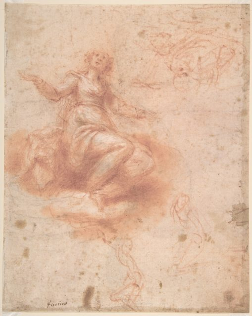 Young Woman on a Cloud with Three Figures (recto); Studies of an Old Man and a Hand (verso)