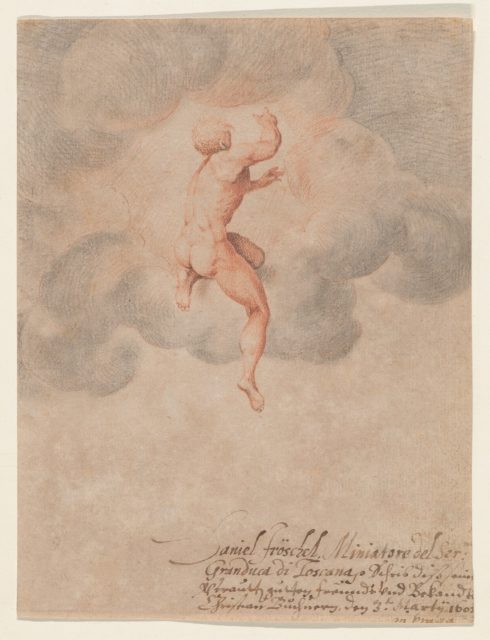 A Nude Male Seen from the Back in Clouds (after Michelangelo Buonarroti)