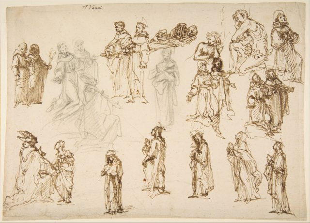Figure Studies: Standing and Kneeling Clerics and Religious, Adam and Eve, and a Reclining Skeleton