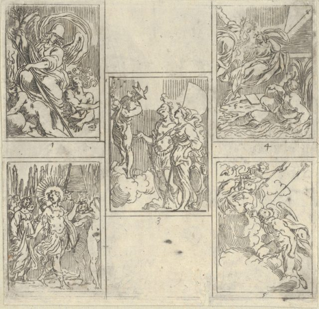 Five numbered scenes, each after a painter in the Accademia Degl'Incamminati, from IL FUNERALE D'AGOSTINO CARRACCIO FATTO IN BOLOGNA SUA PATRIA DAGL'INCAMINATI Academici del Disegno: 1. Virtue vanquishing Envy and Fortune, painted by Giulio Cesare Parigino; 2. Apollo and the Muses at the tomb of Agostino Carracci, painted by Luigi Valesio; 3. Mercury pointing to a constellation with the personification of Painting and that of the city of Bologna, Felsina, painted by Aurelio Benelli; 4. Personification of Painting being comforted by Poetry, and the personification of a river at right, painted by Lodovico Carracci; 5. Allegory of Knowledge and Vigilance chasing Envy out of Heaven, painted by Lorenzo Garbieri.