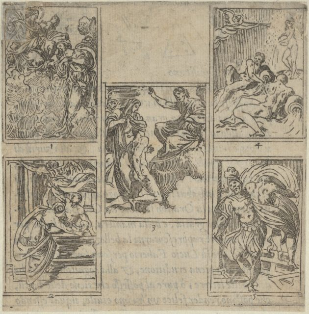 Five numbered scenes, each after a painter in the Accademia Degl'Incamminati, from IL FUNERALE D'AGOSTINO CARRACCIO FATTO IN BOLOGNA SUA PATRIA DAGL'INCAMINATI Academici del Disegno: 1. Ceres lamenting the death of Carracci before Jupiter, painted by Ippolito Ferrantini; 2. Personification of Painting entrusting Carracci's body to Fame, painted by Giovanni Battista Bertusi; 3. The Fates leading the blindfolded Carracci to the foot of Jupiter's throne, painted by Lucio Massari; 4. Three rivers representing the cities of Bologna, Rome and Parma (Reno, Tiber and Parma) with Fame at left, designed by Sebastiano Razzali and painted by Baldessare Aloisi Galanini; 5. Agostino Carracci abducted by Mars who is jealous of the artist's portrait of Adonis made for a Farnese gallery panel, painted by Giovanni Battista Busi.