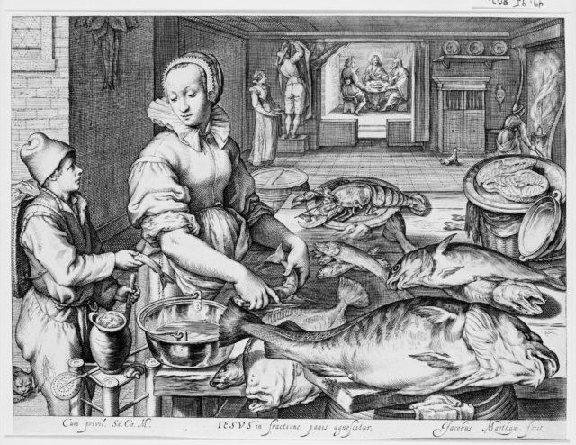 Kitchen Scene with Kitchen Maid Preparing Fish, Christ at Emmaus in the Background, from Kitchen and Market Scenes with Biblical Scenes in the Background