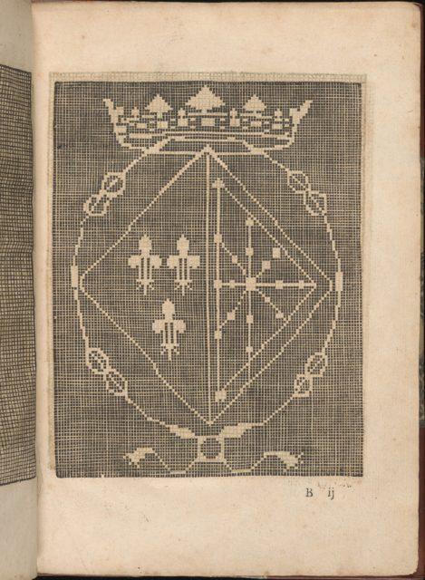Les Secondes Oeuvres, et Subtiles Inventions De Lingerie du Seigneur Federic de Vinciolo Venitien, page 6 (recto)