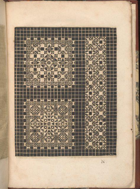 Les Secondes Oeuvres, et Subtiles Inventions De Lingerie du Seigneur Federic de Vinciolo Venitien, page 49 (recto)