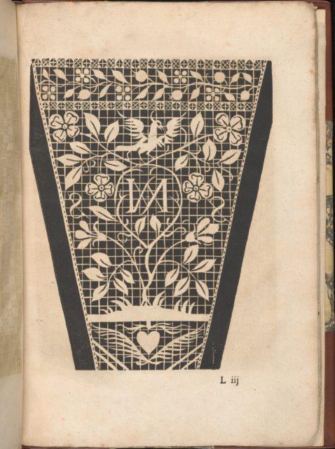 Les Secondes Oeuvres, et Subtiles Inventions De Lingerie du Seigneur Federic de Vinciolo Venitien, page 43 (recto)