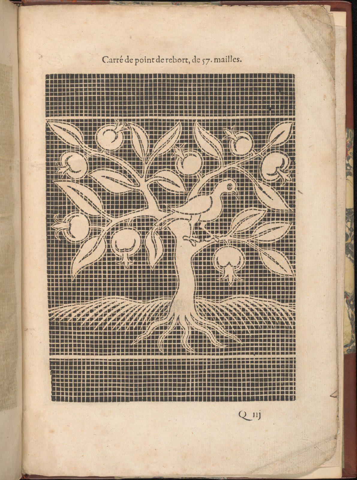 Les Secondes Oeuvres, et Subtiles Inventions De Lingerie du Seigneur Federic de Vinciolo Venitien, page 63 (recto)