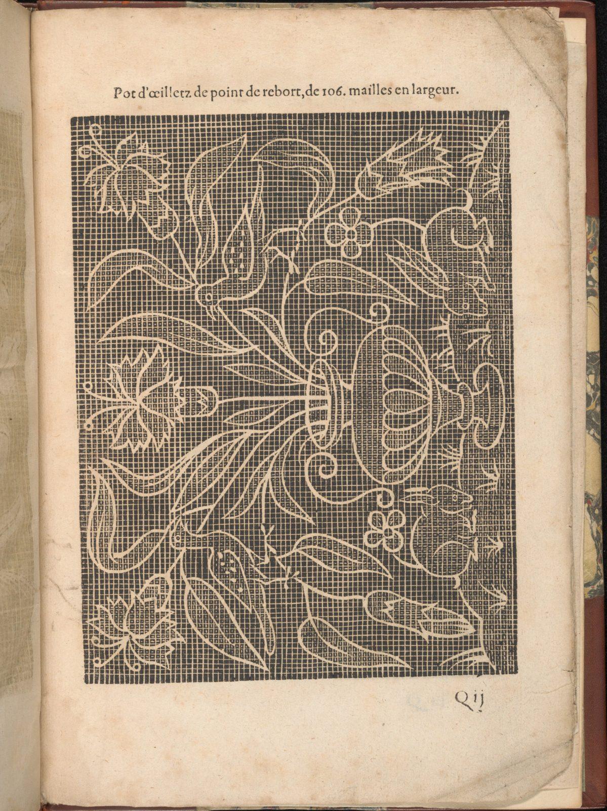 Les Secondes Oeuvres, et Subtiles Inventions De Lingerie du Seigneur Federic de Vinciolo Venitien, page 62 (recto)