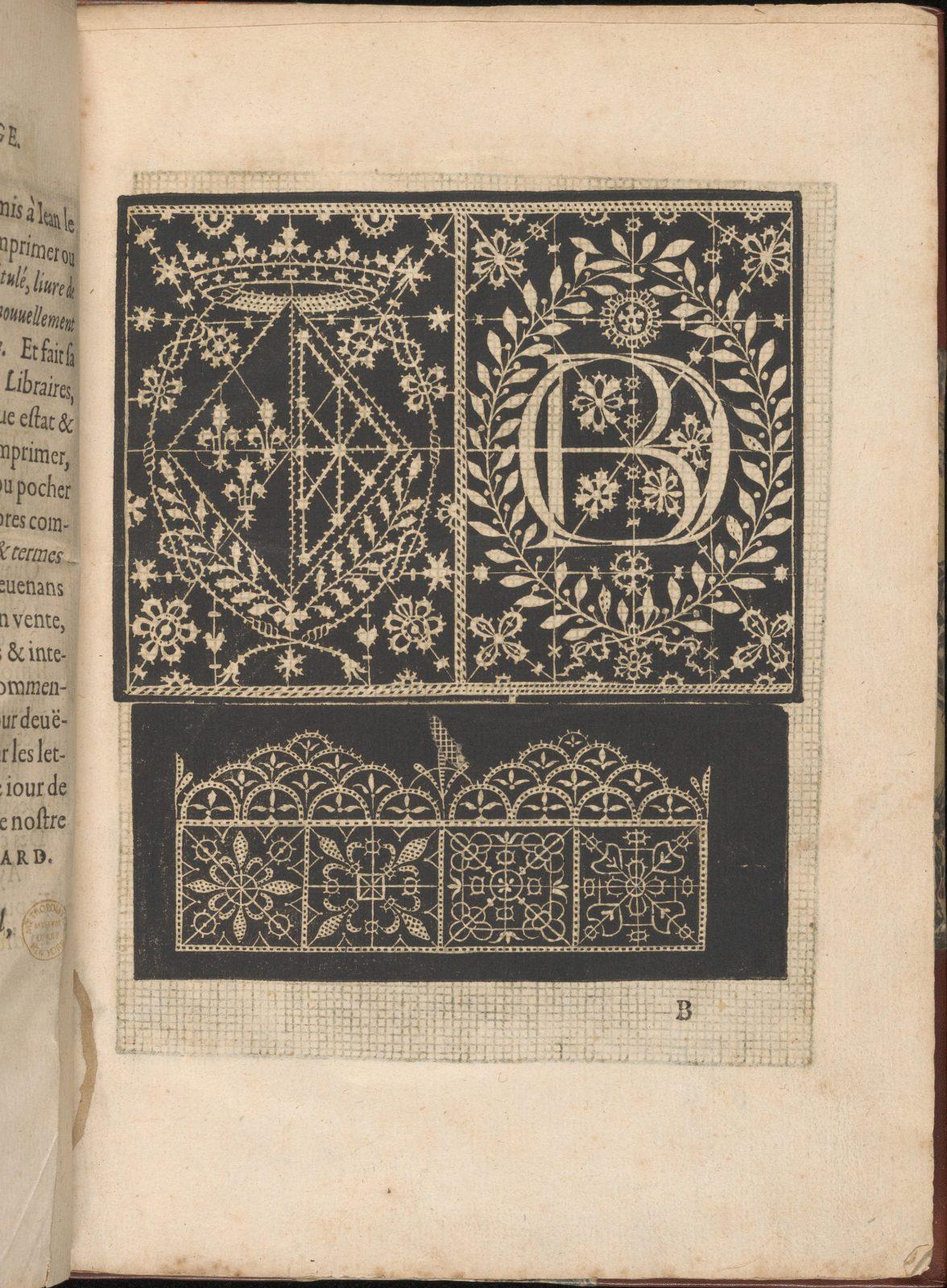 Les Secondes Oeuvres, et Subtiles Inventions De Lingerie du Seigneur Federic de Vinciolo Venitien, page 5 (recto)