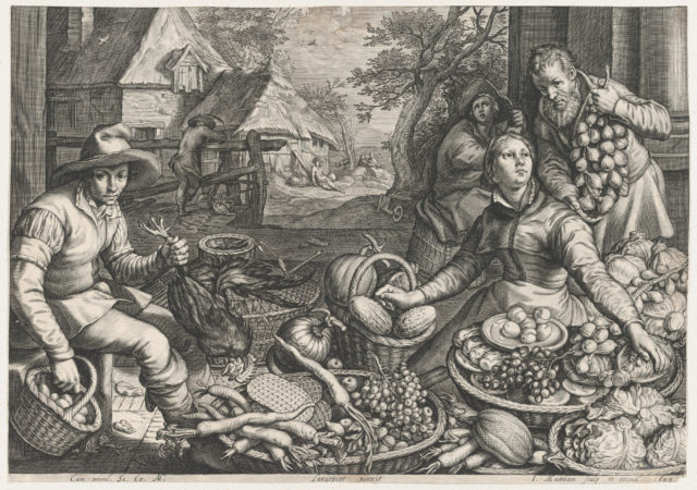 Market Scene, the Rest on the Flight into Egypt in the Background, from Kitchen and Market Scenes with Biblical Scenes in the Background