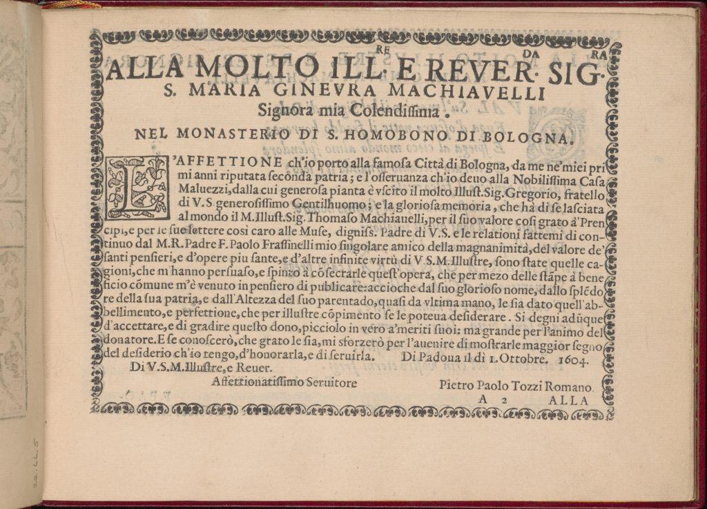 Ghirlanda: Di sei vaghi fiori scielti da piu famosi Giardini d'Italia, page 2 (recto)