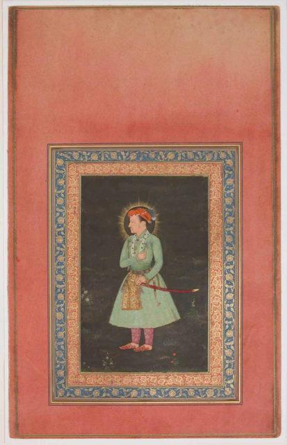 """Portrait of Jahangir Holding Flower"", Folio from the Davis Album"