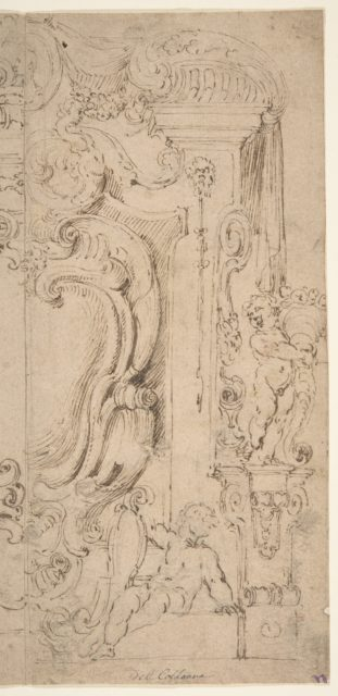 Right and Part of the Left Half of a Design for a Cartouche