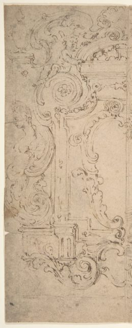 Two Alternatives Designs for a Cartouche Decorated with a Frame, Statues, and Volutes.
