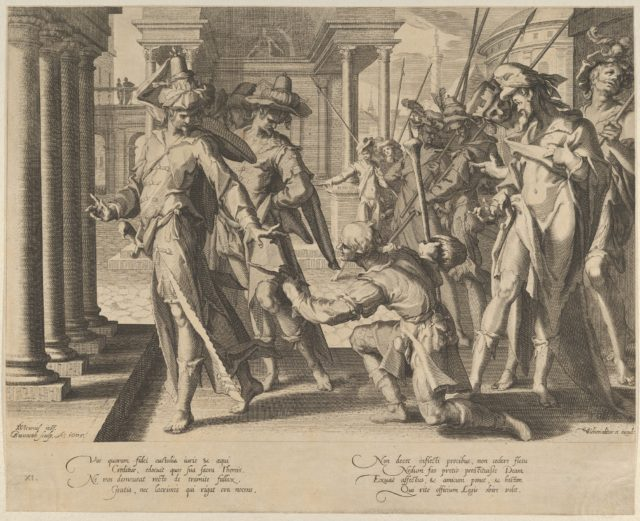 Allegory of Justice depicting a street scene with a shepherd giving a sheet of paper to a judge at left, who rejects it, from Thronus Justitiae, tredecim pulcherrimus tabulis..., plate 11