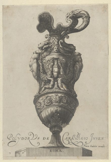 Plate 7: Vase or Ewer Decorated With a Vase Flanked by Putti and Two Large Female figures whose legs morph into griffin claws, from Antique Vases (Vasa a Polydoro Caravagino)