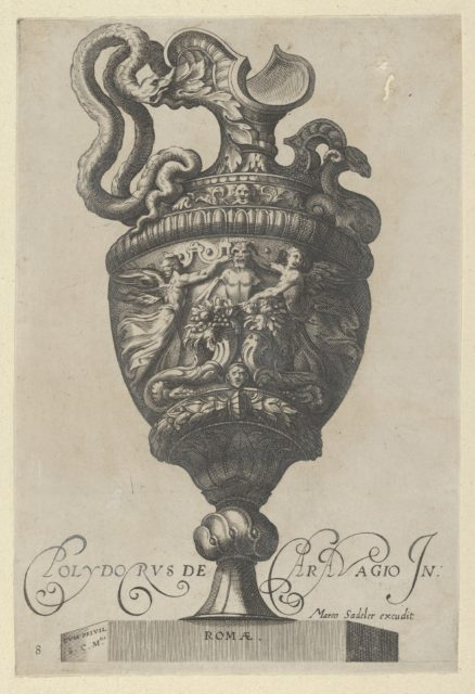 Plate 8: Vase or Ewer Decorated with a Satyr Figure, Behind Two Cornucopias, and Two Winged Victory Figures, from Antique Vases ('Vasa a Polydoro Caravagino')