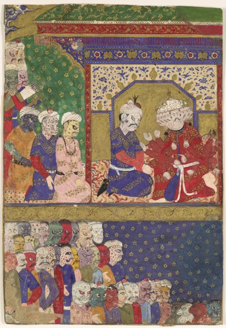 """The Court of Ravana"", Folio from a Ramayana"