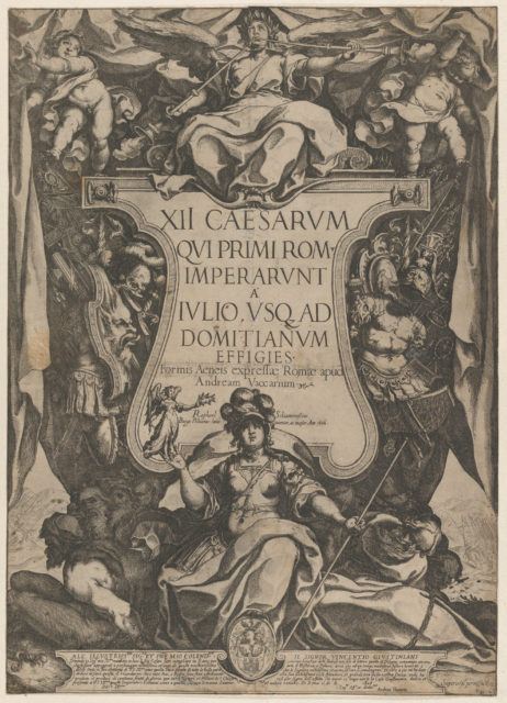 Frontispiece with a trumpeter sounding trumpets seated on top of a cartouche flanked by trophies, from 'The Twelve Caesars'