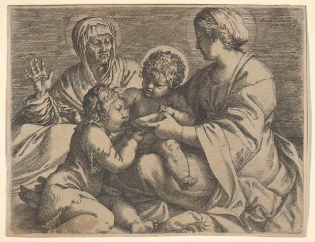 Madonna and Child with Saints Elizabeth and John the Baptist (Madonna della Scodella), the seated Mary and the infant Christ hold a cup from which the young Baptist drinks, Elizabeth lifts both hands