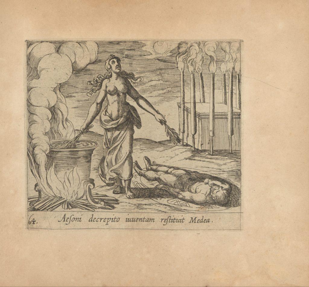 Medea Restoring Aeson's Youth (Aesoni decerptio iuventam restituit Medea), from The Metamorphoses of Ovid (Metamorphosean Sive Transformationum), plate 64