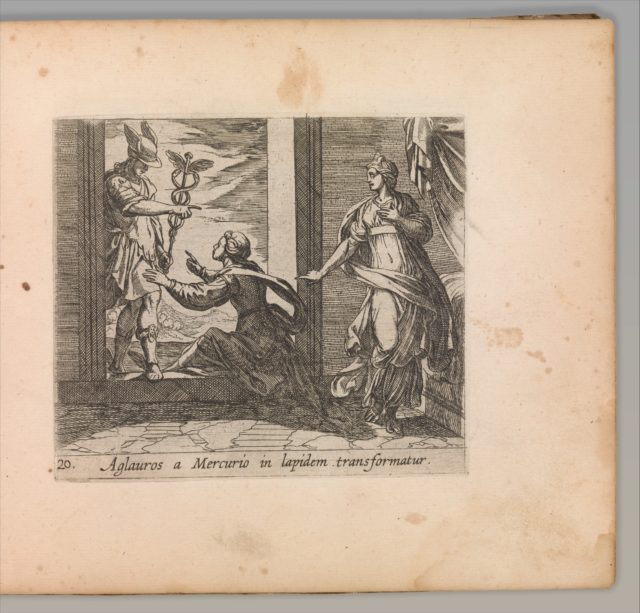 Mercury Turning Aglauros to Stone (Aglauros a Mercurio in lapidem transformatur), from The Metamorphoses of Ovid (Metamorphosean Sive Transformationum), plate 20