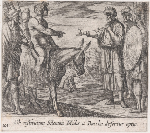 Plate 101: Bacchus Granting Midas's Wish (Ob restitutum Silenum Midae a Baccho Defertur optio), from Ovid's 'Metamorphoses'