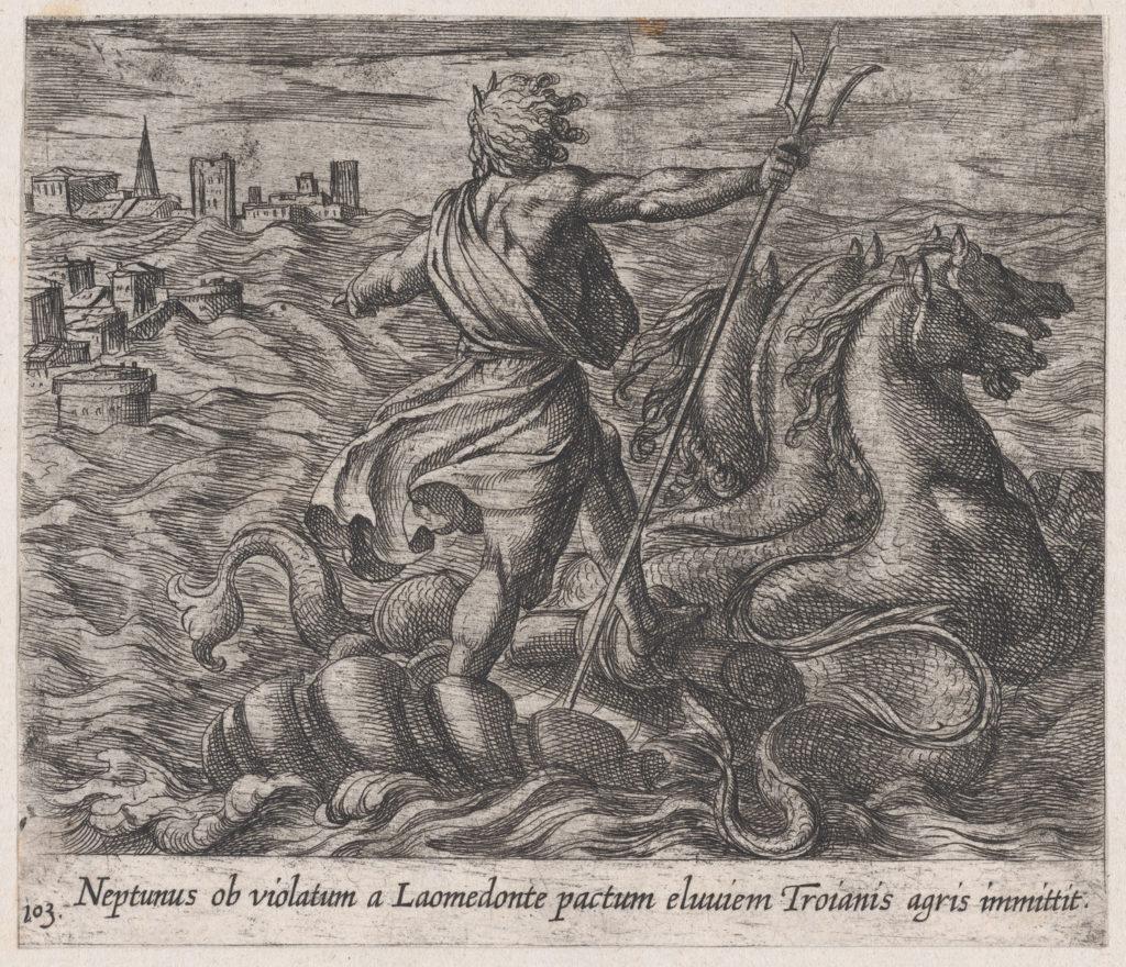 Plate 103: Neptune Sending a Deluge to Troy (Neptunus ob violatum a Laomendonte pactum eluviem Troianis agris immittit), from Ovid's 'Metamorphoses'