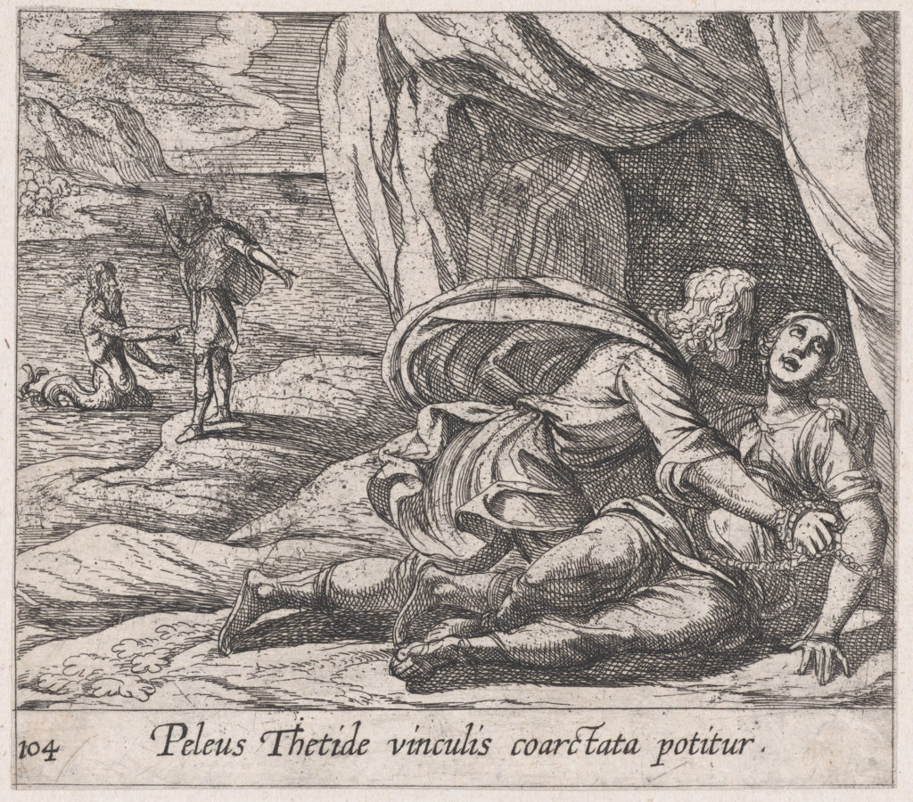 Plate 104: Peleus Embracing Thetis (Peleus Thetide vinculis coarctata potitur), from Ovid's 'Metamorphoses'