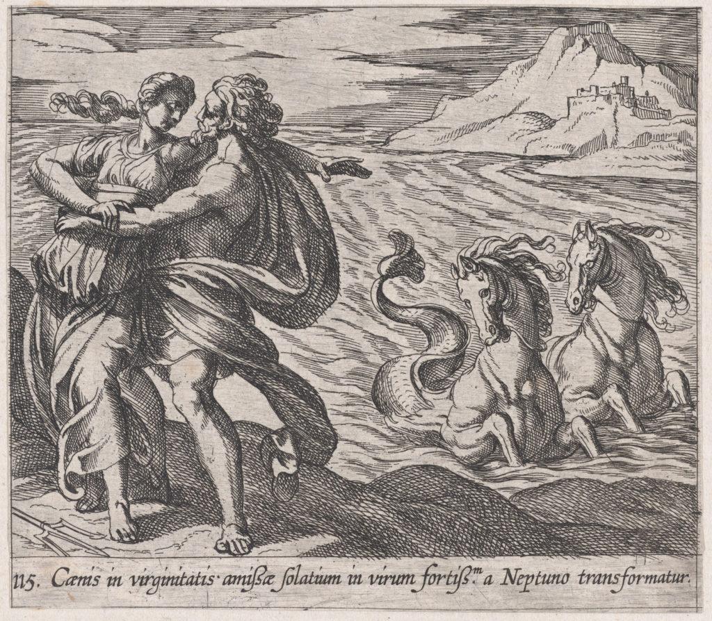 Plate 115: The Rape of Caenis (Caenis in virginitatis amißae solatium in virum fortiß.m a Neptuno transformatur), from Ovid's 'Metamorphoses'