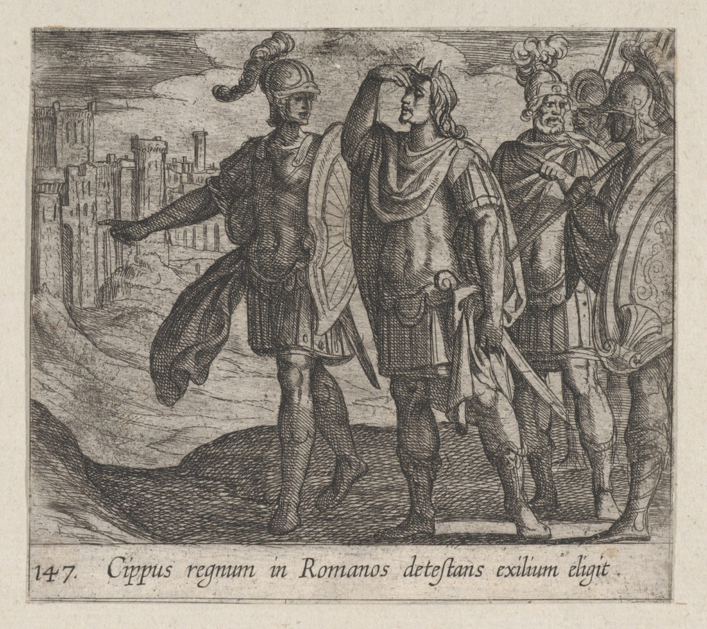 Plate 147: Cipus with his Horns (Cippus regnum in Romanos detestans exilium eligit), from Ovid's 'Metamorphoses'